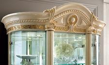 Glasvitrine Vitrine Vitrinenschrank 3-türig Beige Hochglanz Stilmöbel aus Italy