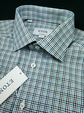 ETON Blue Green Plaid Contemporary Fit Medium 15 3/4 40 Dress Shirt $285