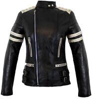 Damen Motorrad  Lederjacke Motorradjacke Retro Taillierter Schnitt Biker Jacke