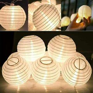 10/20LED Lichterkette Lampion Batterie Beleuchtung Garten Außen Innen Party Deko