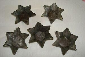 Lot of 5 Heavy Vintage 6 Pointed Star Shaped Deep Tart Pans Molds Tin Crafts