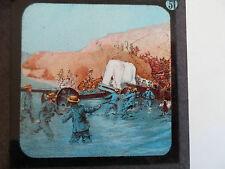 Military Theme Rare Coloured Lithographic Magic Lantern Slide No 51 - Soldiers
