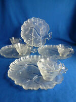 Set of 4 Vintage Hazel Atlas Tree of Life Snack Plates and Cups # 679