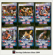 2001 Teamcoach Trading Cards Base Prize Team Set Geelong (6)