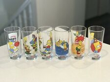 Collectable 6 X 1990's The Simpsons Nutella Promotion Drinking Glasses