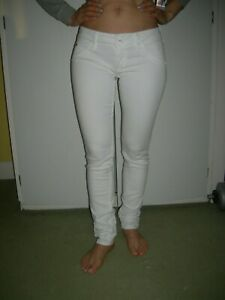 Hudson womens white stretch collin flap slim skinny denim jeans 25 waist