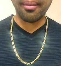 "14K Miami Cuban Link Chain Solid Gold, 26"" 7.9 MM 109 Grams Heavy Necklace Men"