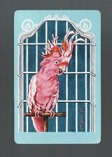 Playing Swap Cards  1 VINTAGE  PINK  BIRD  GALAH  COCKY  IN  CAGE  300  MINT