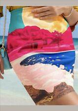 H&M STUDIO COLECTION Multicoloured Landscape Print Skirt UK 8 (S)