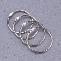 10pcs Silver Metal Loose Leaf Binder Hinge Snap Rings School/Office/Craft Use