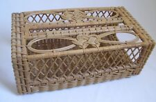 Vintage Tissue Box Cover Woven Straw Wicker Wood & Bamboo Pretty Decorative