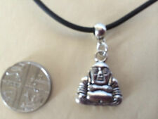 "Buddha Tibetan Silver Pendant Charm 18"" faux leather Necklace choker in gift bag"