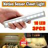 10 LED Motion Sensor Closet Light Wireless Night Cabinet Battery Powered 3 PACK