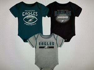 Philadelphia Eagles NFL Baby Boys' Bodysuit Set 3- Pack Size 6-9 Months ~ NWT