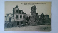 WW1 Roye, Somme France B&W Postcard c1917 Place d'Armes post bombardment