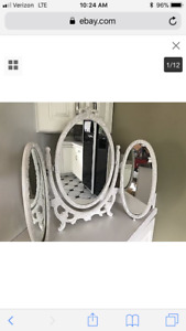SHABBY CHIC TRIFOLD VANITY TABLE MIRROR