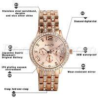Luxury Men Women Casual Rhinestone Stainless Steel Band Quartz Charm Wrist Watch