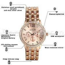 Luxury Men Women Casual Rhinestone Stainless Steel Band Quartz Charm Wrist Watch