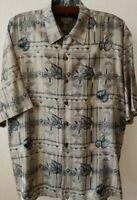Joseph & Feiss Monochromatic Floral Geometric Silk Hawaiian Shirt (Men's XL)