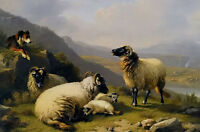 Oil painting eugene verboeckhoven sheep dog guarding his flock sheep by river