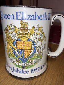 Royal Family Memorabilia Large China Tankard Queen Elizabeth Silver Jubilee 1977