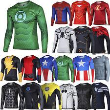 Men Marvel Superhero Compression Long Sleeve Sports Jersey T-shirt Tee Shirt Top