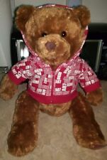 "Aeropostale NWT 16"" Brown Stuffed Plush Bear w/ Red/White AERO A87 Zipper Hoodie"
