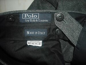 POLO RALPH LAUREN 40 X 30 CHARCOAL GRAY WOOL CASHMERE PLEATED DRESS PANTS ITALY