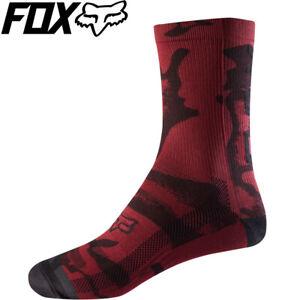 "Fox DH 8"" Camo Print Womens Cycling Socks - Dark Red - S/M"