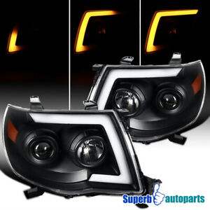 For 2005-2011 Tacoma 05-11 Sequential LED Switchback Black Projector Headlights