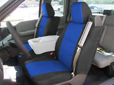 FORD F-150 04-08 S.LEATHER FRONT CUSTOM SEAT COVER BUILT IN SEAT BELT BLACK/BLUE