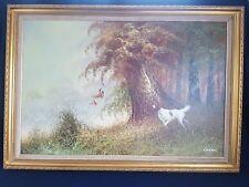 Pintura al óleo sobre lienzo Enmarcado Grande Por L eiford de un arma Perro & faisanes de caza