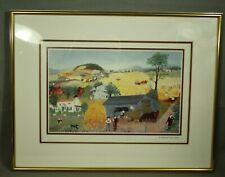 In Harvest Time 1945 Gradma Moses framed Print matted glass metal picture frame