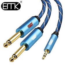 EMK 3.5mm1/8'' to Mono 6.35mm1/4'' Audio Splitter Cable Speaker Amplifier Cable