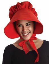 Red Pioneer Women's Bonnet Hat Wide Brim Adult Prairie Costume Accessory Amish