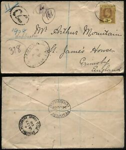 1908 CAYMAN ISLANDS 3d Edward VII Registered Mail to Grimsby, England + T.P.O.