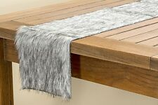 Tischband Fell Läufer Dekoration Kunsstoff grau 120 x 20 Tisch Wohnen 7695400