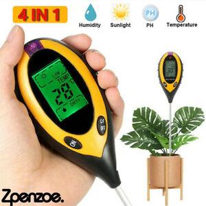 4 in1 Soil PH Meter Tester LCD Digital Temperature Sunlight Fertility Hygrometer