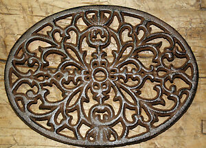 Cast Iron OVAL Antique Style Victorian Scroll TRIVET Plaque Pot Pan Holder