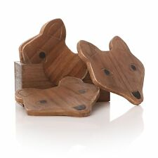 Wooden Set of 5 Fox Coasters, Gift, Easter, Coffee, Entertaining, Craft