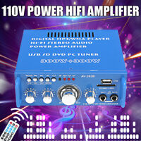 110V 600W HIFI Audio Stereo Power Amplifier bluetooth FM Radio 2CH Car Home