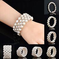 Hot Women Pearl Styles Wedding Bridal Crystal Rhinestone Bracelet Bangle Jewelry
