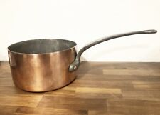 """Vintage 10"""" Copper Pot Made in France Tin Lined Antique Pan Stock Heavy 9.6lbs"""
