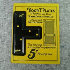 Antique Screen Door T Plates Metal Brackets Set of 2 On Original Card