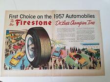 1956 Firestone Tires Deluxe Champion Automobile Original Print Ad