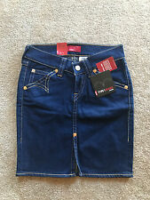 NEW LEVIS TYPE 1 WOMEN MINI PENCIL SKIRT VINTAGE WASH INDIGO BLUE DENIM SIZE S