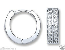 RHODIUM PLATED 925 HALLMARKED SILVER 15MM DIAMETER CHANNEL SET HUGGIE EARRINGS