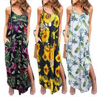 US Women Summer Casual Pockets Strap Long Dress Beach Split Maxi Floral Sundress
