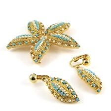 Sarah Coventry Ocean Star Brooch Pin Clip on Earrings Demi Parure 1960s Vintage