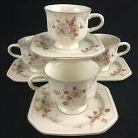 Set of 4 VTG Cups and Saucers by Mikasa Continental Ivory Tivoli Garden Japan